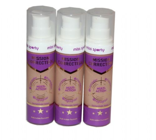 3 x Miss Sporty Mission Correction Multi Correction Foundation | 004 Dark